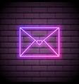 neon love letter envelope sign bright light heart vector image vector image