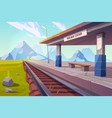 railway station mountains empty railroad platform vector image vector image