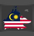 sabah malaysia map with malaysian national flag vector image vector image