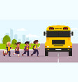 school bus kids students enter yellow transport vector image