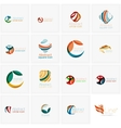 Set of abstract wavy elements Circles swirls and vector image