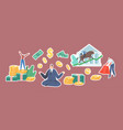 set stickers bull market trading characters vector image