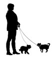 silhouette of woman and dog on a white background vector image