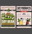 soy and soybean products soya food posters vector image vector image