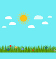 spring green grass and flowers landscape vector image vector image