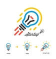 Start up business concept network bulb-rocket vector image