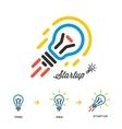Start up business concept network bulb-rocket vector image vector image