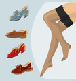 stockings and female legs with retro vintage shoes vector image vector image