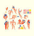 stylised people on beach summer vacation sea vector image