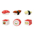 sushi set traditional japanese delicious seafood vector image vector image