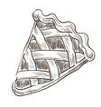 sweets pie slice dough bakery monochrome sketch vector image