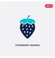 two color strawberry drawing icon from bistro and vector image