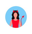 woman wearing devil horns tail costume face avatar vector image