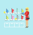 young blond woman choosing an iron in home vector image vector image