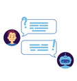 young man dialog with chat bot vector image vector image