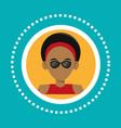 character hipster man sunglasses rings social vector image