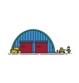 warehouse with round roof roller shutters and vector image