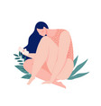 a girl bleeding hugging her leg with a pad in the vector image