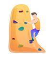 Alpinist wall climbing icon cartoon style