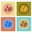 assembly flat icons beans coffee logo vector image vector image