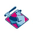 baseball player with bat batting retro style vector image vector image