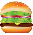 big burger on white background vector image vector image