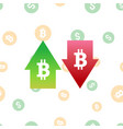 bitcoin digital currency symbol with arrows up and vector image vector image