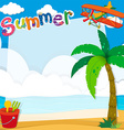 Border design with summer on the beach vector image vector image