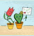 card lovers tulip and cactus hold hands vector image vector image