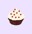 chocolate cupcake with vanilla cream vector image vector image
