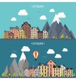 City in summer Urban landscape with mountains vector image