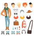 clothing of fashionable guy cartoon male vector image