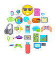 cloud database icons set cartoon style vector image