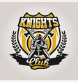 colorful logo emblem a knight on a background of vector image vector image