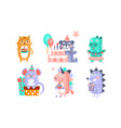 cute cartoon animal characters set childish vector image vector image