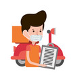 delivery man and customer scooter order food vector image vector image