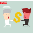 Devil and angel snatching money - - EPS10 vector image vector image