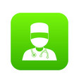 doctor with mask icon digital green vector image vector image