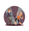 flat musician and singer cartoon characters vector image vector image