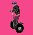 Girl wearing body armour and helmet on a segway vector image