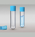 glass test tubes with blue plastic caps empty and vector image