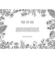 hand drawn floristic frame border with flowers vector image vector image