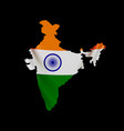 hanging india flag in form map republic of vector image