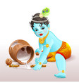 happy krishna janmashtami blue boy god broke pot vector image vector image