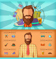 hipster man banner set horizontal cartoon style vector image vector image