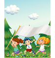 Kids running with an empty banner vector image vector image