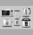 kitchen appliances realistic microwave kettle vector image