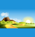 landscape with hills road and sun vector image