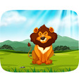 lion sitting in grassland vector image vector image