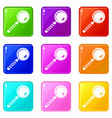 magnifying glass icons 9 set vector image vector image